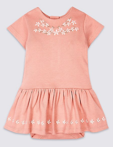 Pure Cotton Embroidered Baby Body Dress