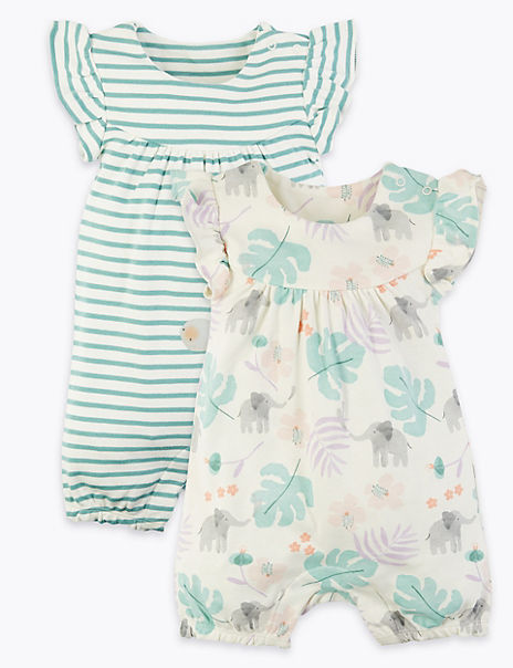 2 Pack Cotton Elephant Rompers (7 lbs -12 Mths)