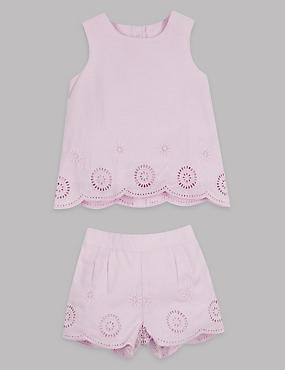 2 Piece Laser Cut Top & Shorts Outfit