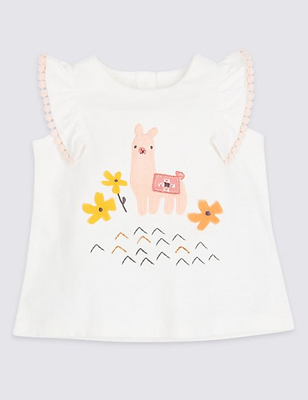 Pure Cotton Llama Embroidered Top