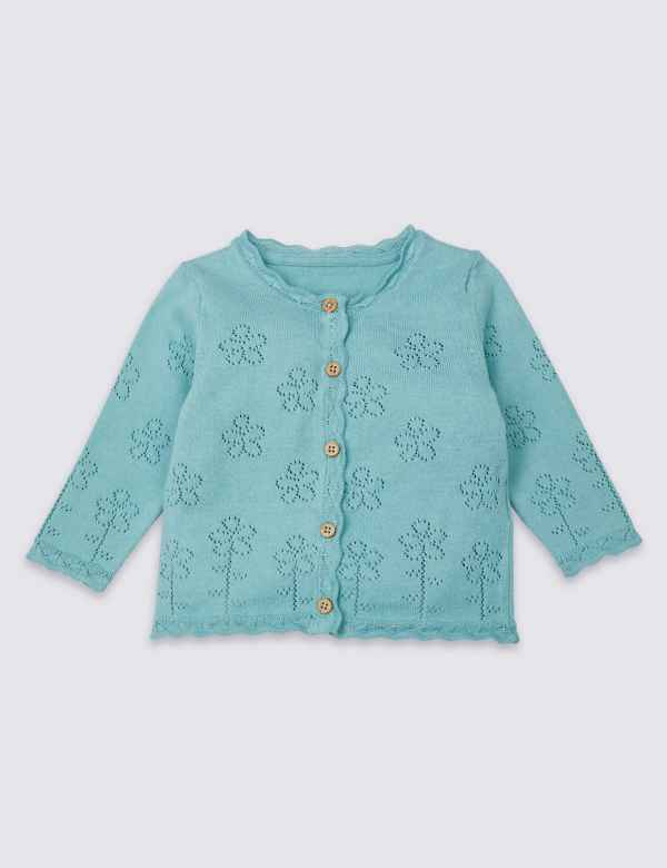 eb9c9e349f16 Pure Cotton Pointelle Knitted Cardigan