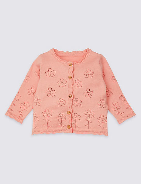 Pure Cotton Pointelle Knitted Cardigan