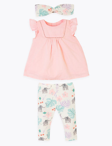 3 Piece Cotton Rich Frilly Outfit (0-12 Mths)