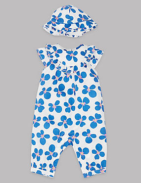 2 Piece Pure Cotton Romper with Hat