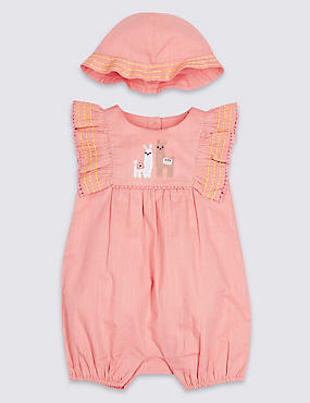 2 Piece Pure Cotton Llama Romper with Hat