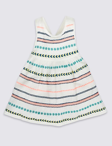 Pure Cotton Embroidered Woven Dress