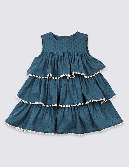 Pure Cotton Pom-pom Trim Dress