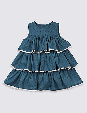 Pure Cotton Pom-pom Trim Dress