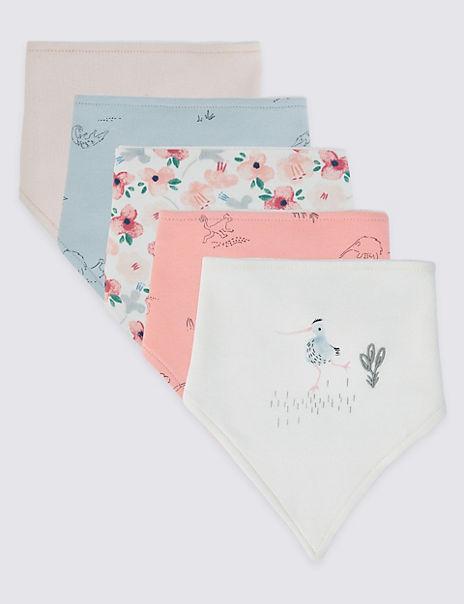 5 Pack Cotton Pattern Dribble Bibs