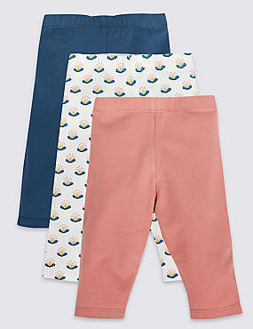 3 Pack Cotton Leggings with Stretch
