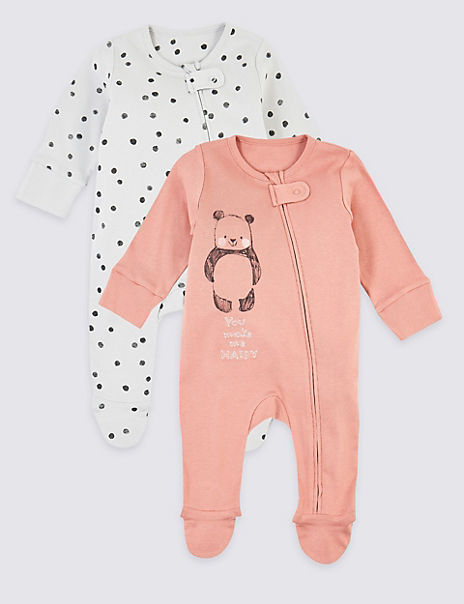 2 Pack Pure Cotton Panda & Spot Print Sleepsuits