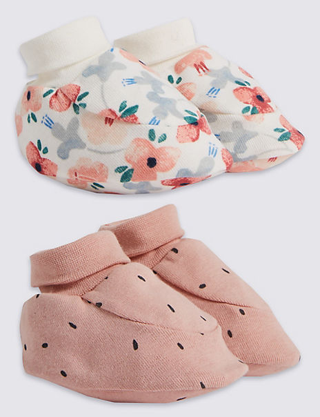 2 Pack Cotton Patterned Booties
