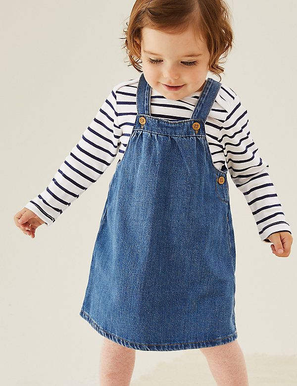 2pc Pure Cotton Denim Pinny Outfit (0-3 Yrs)