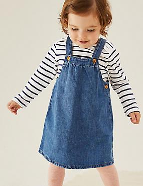 Ensemble 2pièces 100% coton avec robe chasuble en jean (jusqu'au 3ans)