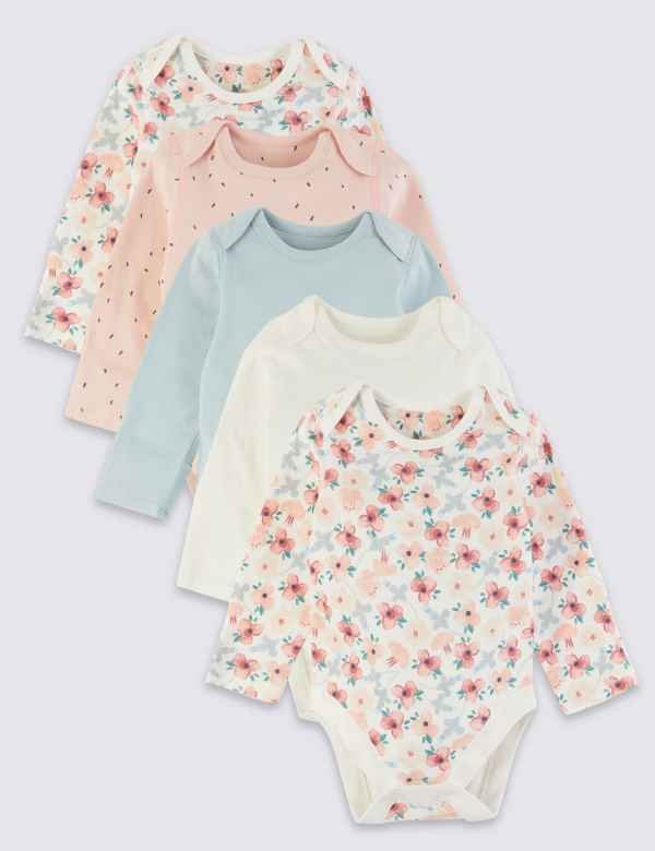 31bef681f6519 5 Pack Organic Cotton Patterned Bodysuits
