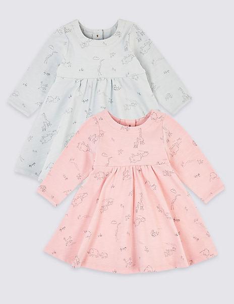 2 Pack Jersey Animal Print Dress