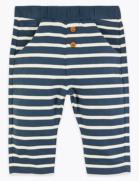 Pure Cotton Striped Joggers (0-3 Years)