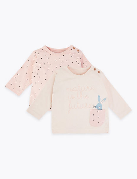 2 Pack Pure Cotton Bunny Print Tops