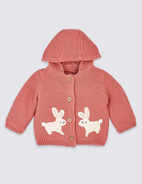 Pure Cotton Knitted Hooded Cardigan