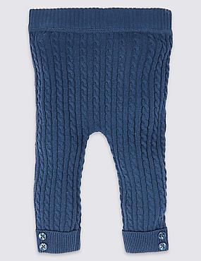 Cotton Blend Cable Knit Leggings