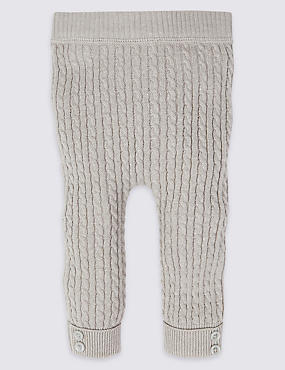 Cotton Blend Cable Knit Leggings