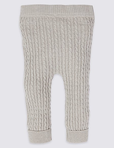 Cotton Blend Cable Knit Leggings Ms