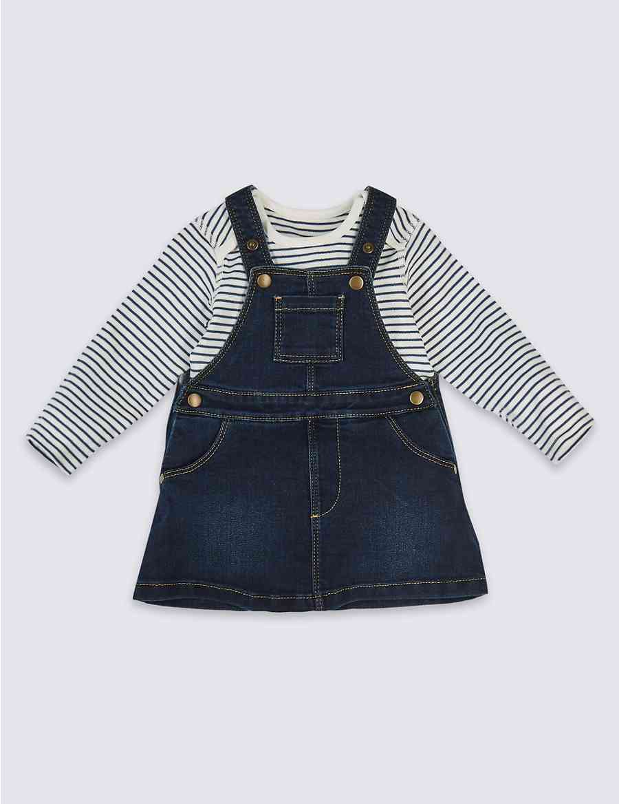 2 Piece Denim Pinny Bodysuit Ms Overall Stripe