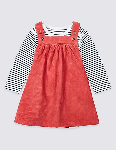 2 Piece Cotton Cord Pinny Dress & Bodysuit