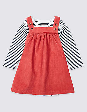 2 Piece Pure Cotton Cord Pinny Dress & Bodysuit