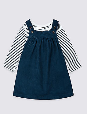 2 Piece Pure Cotton Pinny Dress & Bodysuit