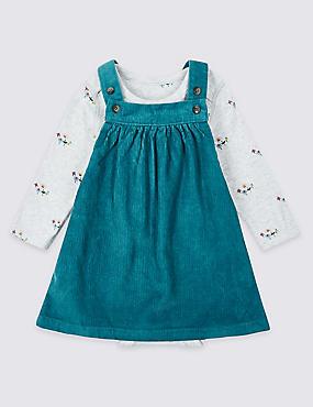 2 Piece Pure Cotton Cord Pinny Dress & Bodysuit