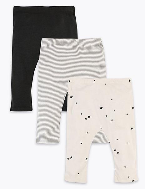 3 Pack Cotton Striped & Star Print Leggings