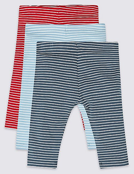 3 Pack Striped Organic Cotton Leggings with Stretch