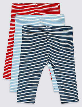 3 Pack Striped Cotton Leggings with Stretch