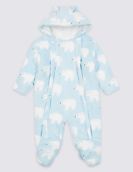 All Over Bear Print Pramsuit