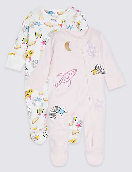 2 Pack Pure Cotton Zip Through Space Sleepsuits