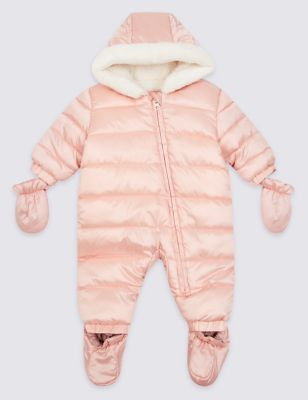 faux fur trim puffer snowsuit