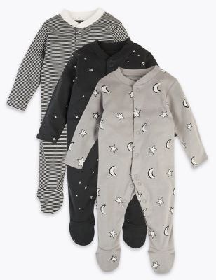 3 Pack Pure Cotton Monochrome Sleepsuits by Marks & Spencer