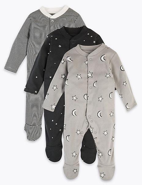 3 Pack Pure Cotton Monochrome Sleepsuits