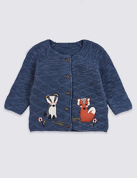 Animal Applique Knitted Cardigan