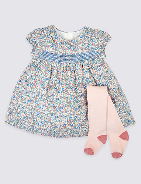 2 Piece Cotton Floral Dress & Tights