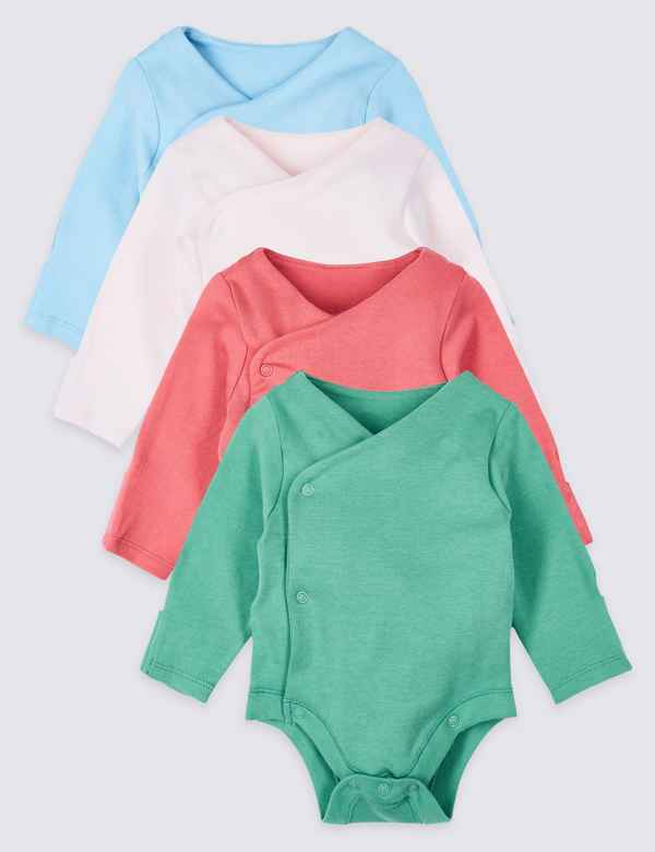 d53bf2bacef 4 Pack Pure Cotton Wrap Over Bodysuits