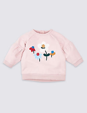 Cotton Floral Sweatshirt with Stretch