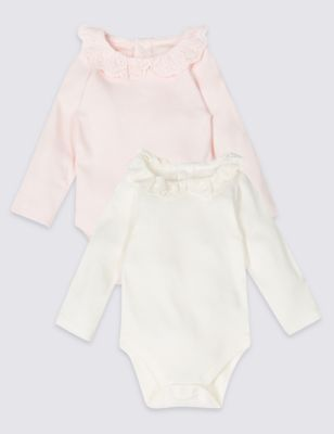 2 Pack Pure Cotton Bodysuits by Marks & Spencer
