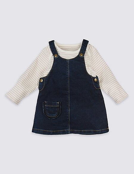 2 Piece Frill Pocket Denim Dress