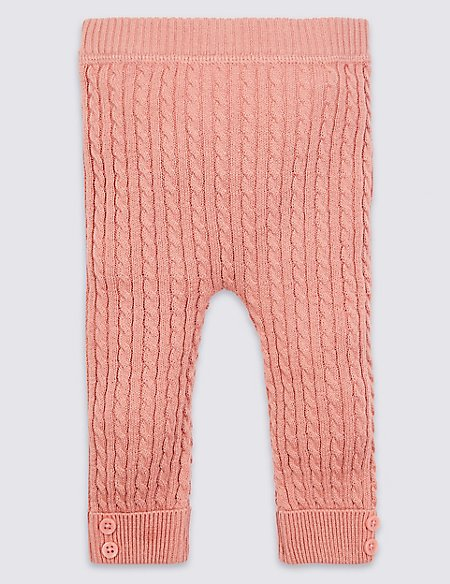 Cotton Rich Cable Knit Leggings