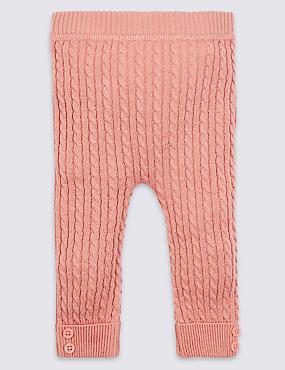 Cotton Rich Cable Knit Leggings