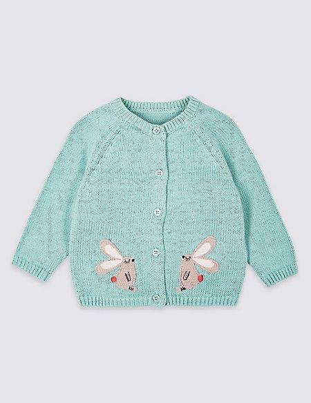 Pure Cotton Applique Cardigan