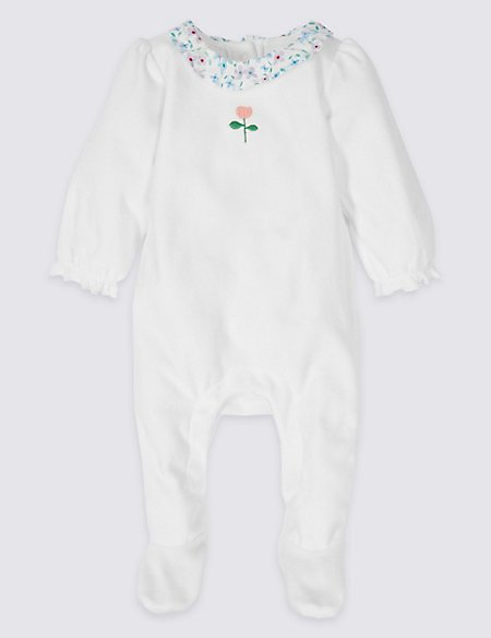 Cotton Rich Woven Collar Velour Sleepsuit
