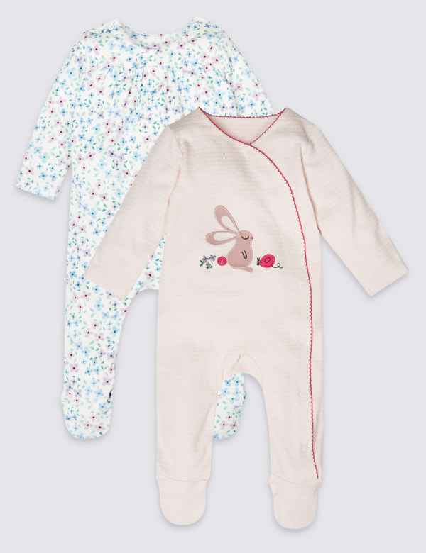 Babygrows & Playsuits Baby Set Of 2 Next Bunny Baby Grows Sleepsuits Girls First Size 0-3 High Quality